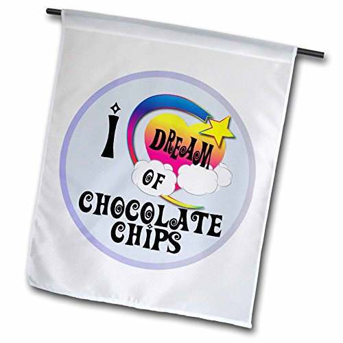 3dRose FL_165989_1 Cute Girly Heart Star Clouds I Dream of Chocolate Chips Garden Flag, 12 by 18-Inch