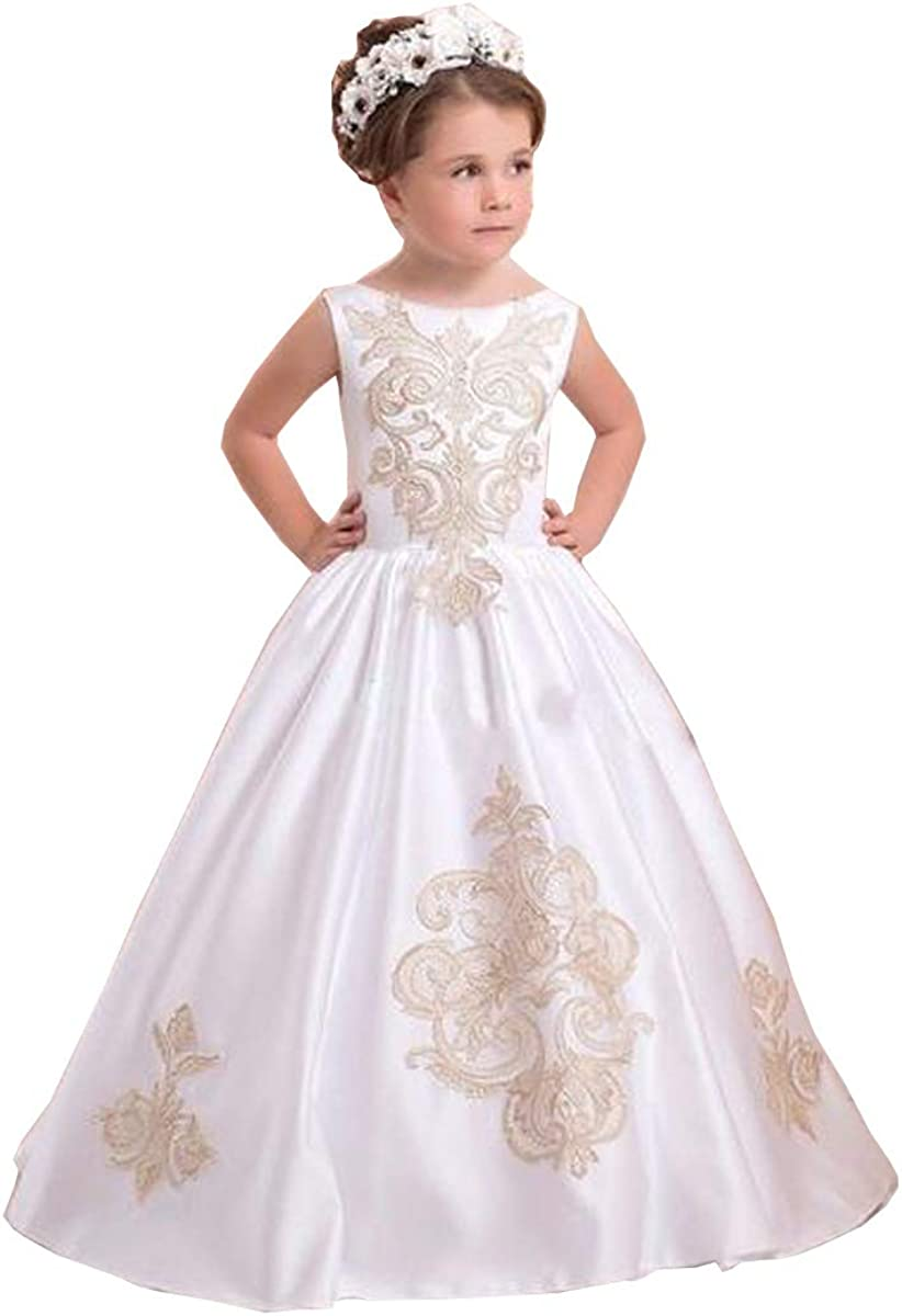 Elegant Kids Lace Flower Girl Dresses For Wedding First Communion Princess Gown