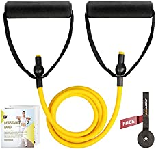 RitFit Single Resistance Exercise Band with Comfortable Handles - Ideal for Physical Therapy, Strength Training, Muscle Toning - Foam Padding Door Anchor and Starter Guide Included (Yellow(1-5lbs))