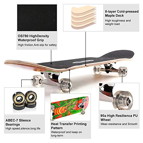 ChromeWheels 31 inch Skateboard Double Kick Skate Board Cruiser Longboard 8 Layer Maple Deck Skateboards for Kids and Beginners