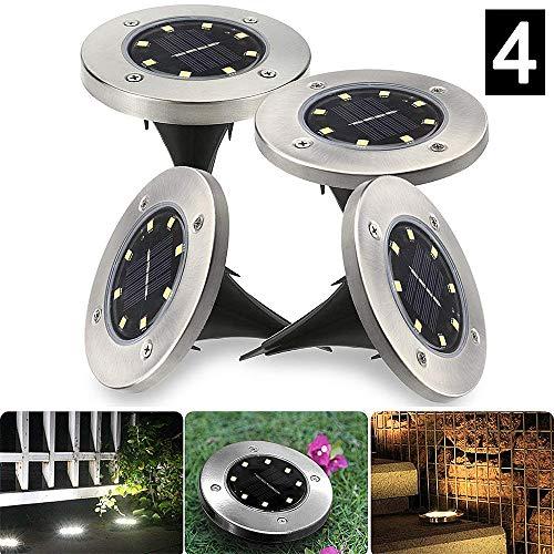 Sinicyder Lámpara de pie solar acero inoxidable a prueba de agua IP65 para jardín, patio, entrada, césped y camino [clase energética A +++] - blanco [blanco] [4 piezas, 8 LED]