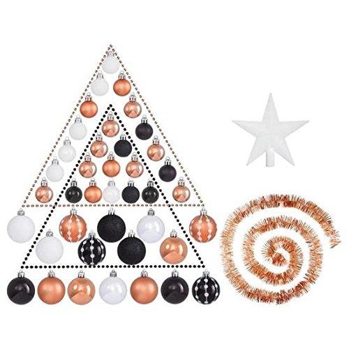 les colis noirs lcn Kit de Décoration de Noel Noir Argent Blanc - Déco Sapin Fête - 126