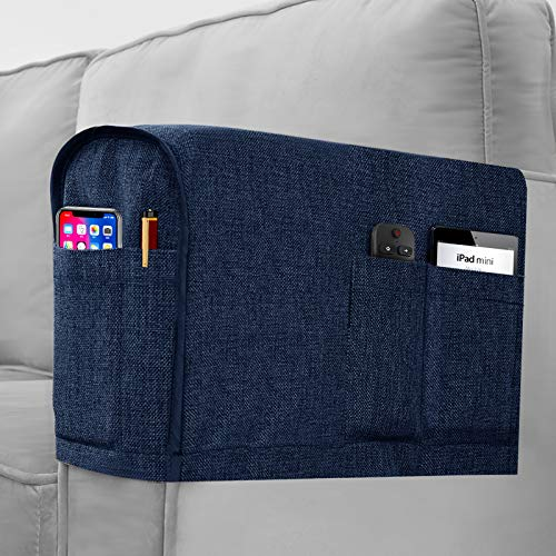 Joywell Linen Armrest Covers for Living Room Anti-Slip Sofa Arm Protector for Dogs, Cats, Pets Armchair Slipcover for Recliner with 4 Pockets for TV Remote Control, Phone, Set of 2, Navy