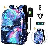 EUATEO Mochila Luminosa Mochilas Escolares con Puerto de Carga USB Mochila Estudiante Unisex Cool Galaxy Bandolera para portátil de Menos de 15.6 Pulgadas (Sky Blue Music Kid) (Color) …