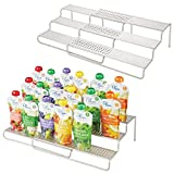 mDesign Expandable Kitchen Cabinet Metal Wire Kid/Baby Food Storage Shelf Organizer Rack Holder - for Pouches, Jars, Bottles, Formula, Juice Boxes - 3 Level Storage, Up to 25' Wide - 2 Pack - Satin
