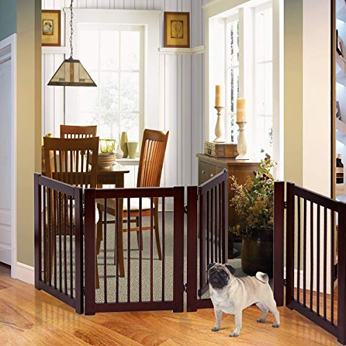 "Petsite 30""H Pet Gate with Walk Through Door, Indoor/Outdoor Baby Gate, Wooden Pet Playpen, Folding Adjustable Panel Safety Gate for Corridor, Doorway, Stairs, Extra Wide, Cerise Finish, 80""W"