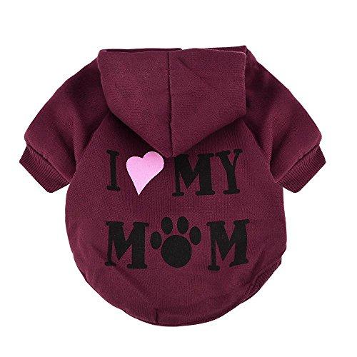 RETUROM Ropa para Mascotas, Amo a mi mamá Letra Impresa Camiseta Ropa para pequeño Perro Mascota Cachorro (XS, Rojo)