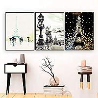 パリ水彩画アートワーク壁アートキャンバス絵画ポスター家の装飾ポスターとプリント装飾写真キャンバスプリント60x80cm-3ピースフレームレス