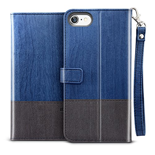 ESR iPhone 8 Case iPhone 7 Case Wallet Case Kickstand Feature ScratchFree Flexible Inner Case Folio Wallet Case with Strap/Card Slots/Side PocketBlue Grey