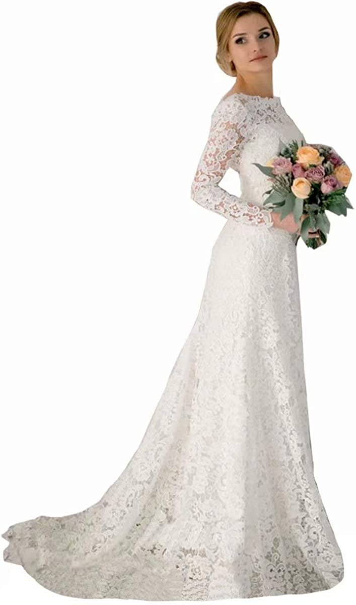 Wedding Dress Romantic Lace Mermaid Wedding Dresses Long Sleeves Backless  Vintage Wedding Gowns Bridal Dresses