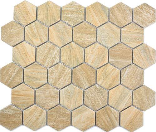 Keramische mozaïek hexagon zeshoekig hout beige muur vloer keuken douche badkamer tegelspiegel mozaïekmat mozaïekplaat