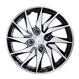 Veemoon Cubiertas de Rueda de Tapacubos Universales Plateadas Negras Cubiertas de Llantas de Neumáticos de Automóviles Cubierta de Piel de Llantas de Ruedas de Vehículos de Repuesto de 14
