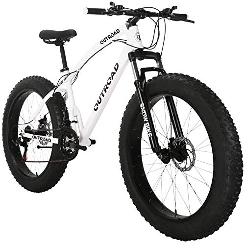 PanAme 26 inch Fat Tire Mountain Bike, High-Carbon Steel Frame, 21-Speed, Disc Brake and Shock Absorber Fork, White