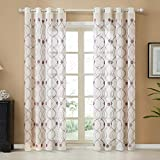 Top Finel White Sheer Curtains 96 Inches Long Purple Trellis Embroidered Grommet Moroccan Window Curtains for Living Room Bedroom, 2 Panels