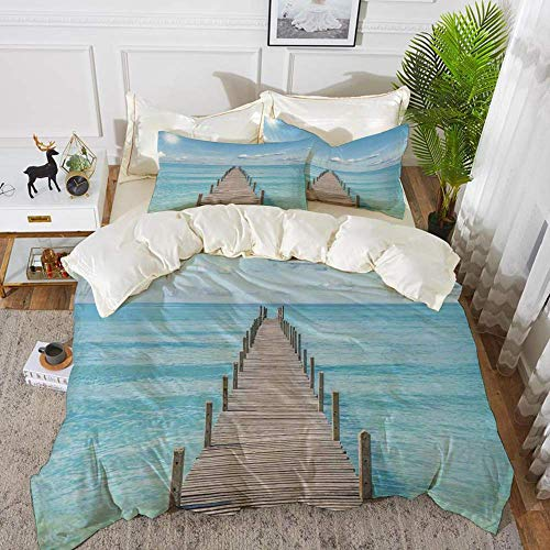 Art,Wood Pier Deck in Asian River with Sky and Sun Summer Travel Theme Art Print,Blue B,Hypoallergenic Microfibre Duvet Cover Set 260 x 220cm with 2 Pillowcase 50 X 80cm