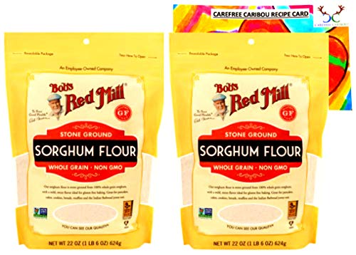 Bob's Red Mill Gluten Free Sweet White Sorghum Flour Bundle. Includes Two (2) 22oz Packages of Bobs Red Mill Gluten Free Sweet White Sorghum Flour and a Recipe Card from Carefree Caribou!
