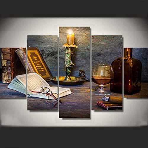 Composición de 5 Cuadros de Madera para Pared Libro Vasos Velas Vaso De Cristal Impresión Artística Imagen Gráfica Decoracion De Pared Abstracto 150 * 80cm con Marco