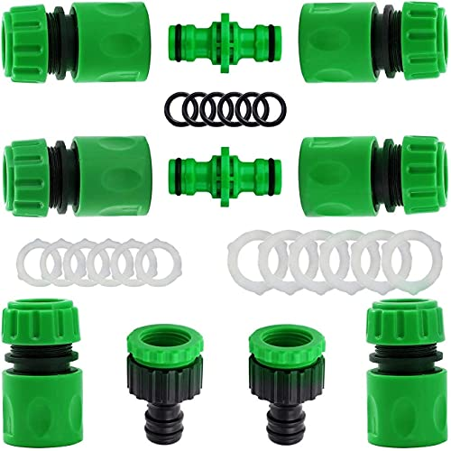 Paquete de 10 conectores de manguera de jardín de plástico para unir tubos de manguera de jardín (2 conectores macho dobles LUXingYun (color 10 unidades)