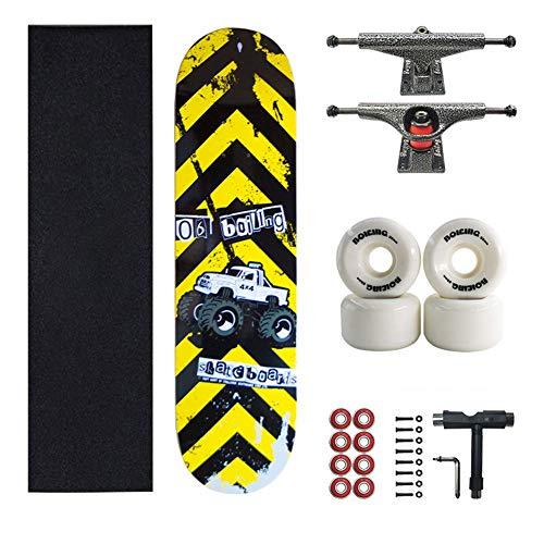 Skateboard a Doppia tavola, Skateboard Completi in Acero per Adolescenti Adulti Principianti Ragazze Ragazzi Bambini, Carico 200 kg, Carrello Regalo