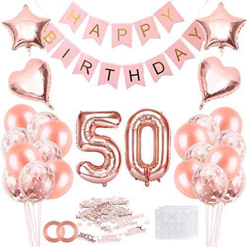 Bluelves Palloncini Compleanno 50 Anno, 50 Palloncini Oro Rosa, Palloncino Numero 50, Palloncini Compleanno, Compleanno Palloncini in Lattice Coriandoli Palloncini