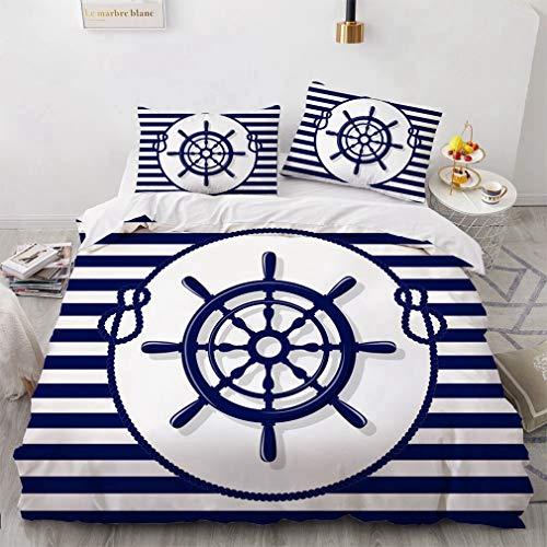 Newat, set di biancheria da letto, motivo marittimo, con piumone/trapunta, con ruota di ancoraggio per barca e nave con bussola, bottiglia di corda per faro, colore blu navy bianco (D,135 x 200 cm)