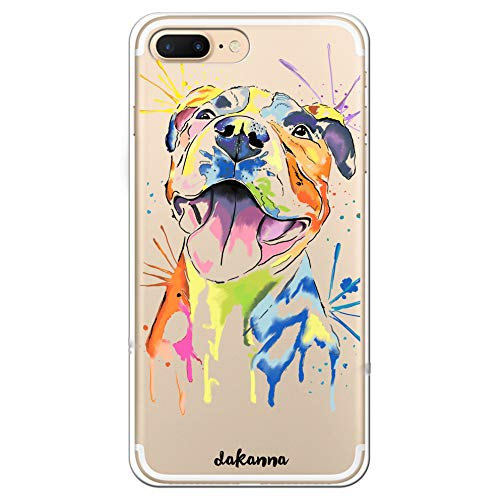dakanna Custodia per iPhone 7 Plus - 8 Plus | Cane Pitbull Colori | Cover in Gel di Silicone TPU Morbido di Alta qualità con Sfondo Trasparente