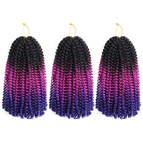 Spring Twist Hair Ombre Colors 3 Packs Synthetic Braiding Hair Extensions 8 inch fashion Crochet Braids (8 inch (Pack of 3), Black Violet Blue)