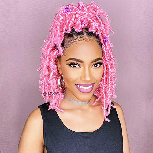 Niseyo Butterfly Locs Crochet Hair 12 Inch 1 Pack Pre-Looped Distressed Locs Crochet Braids (12 Inch (Pack of 1), Pink)