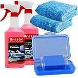 Brestol Reinigungsknete Set2 200 g Knete blau mittelstark + Box + 2X 750 ml Spezial GLEITMITTEL + 2X Poliertuch - Polierknete Lackknete Clay-Bar Auto-Lack-Knete - entfernt Baumharz Insekten...