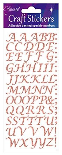 Eleganza oa027234 gestileerde alfabet letter glitter craft sticker - Rose Gold zelfklevend