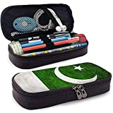 Bandera de Pakistán Caja de lápices de cuero de gran capacidad Bolígrafo de lápiz Papelería Titular Caja Organizador Bolígrafo de maquillaje escolar Bolsa de cosméticos portátil