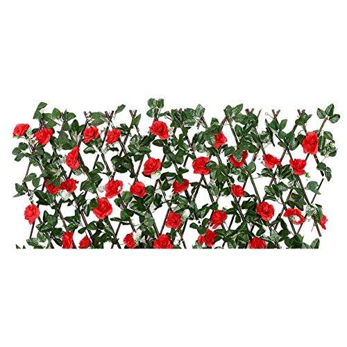 58bh einziehbarer künstlicher Gartenzaun mit Blume, künstliche Zaunelemente, hölzerne Hecke, einziehbares Rankgitter, Sichtschutzzaun Sichtschutzzaun UV-geschützt für Hinterhof, Heimdekoration