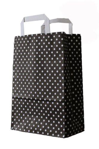 250 farbige Papiertragetaschen Papiertaschen Tüten Papiertüten Tragetaschen Shopper schwarz-weiß gepunktet 22 + 11 x 28 cm