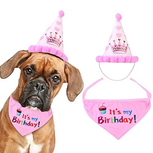 XCOZU Hund Halstuch Set,Halstuch Hund Geburtstag Bandana und Hut für Mädchen Kleine Große Hunde,Hundehalstuch Kopftücher für Haustier Geburtstags Party Dekoration Hund Zubehör Rosa