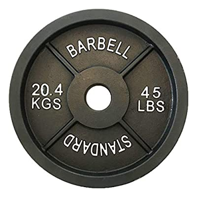 2-inch Olympic Weightlifting Plates, Solid Iron Barbell Weights for Training and Power Lifting, Various Sizes (45-lbs (Single))