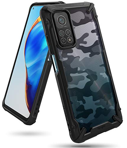 Ringke Fusion-X Kompatibel mit Mi 10T Pro Hülle, Kompatibel mit Mi 10T 5G Hülle, Handschlaufe Loch im Rand Fingerabdruckfest 3D Militär Muster - Camo Black Schwarz