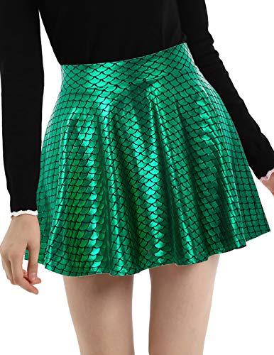 Casual Elastic Waist Pleated Skater Shiny Metallic Mini Skirt Green S