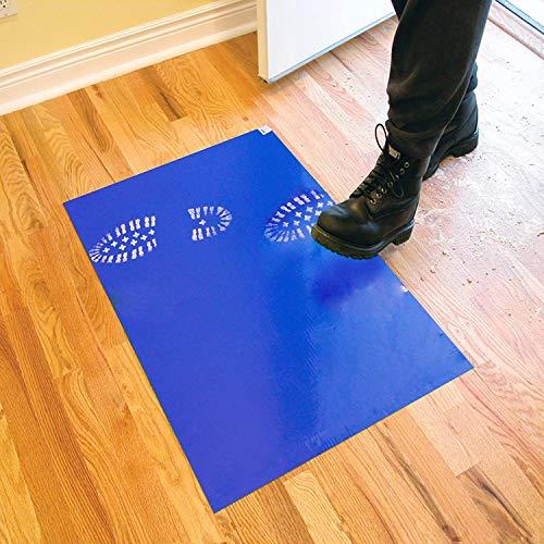 Alfombra de piso adhesiva de PVC de 30 piezas para alfombra de piso antibacteriana y a prueba de polvo azul (45 * 90 cm)