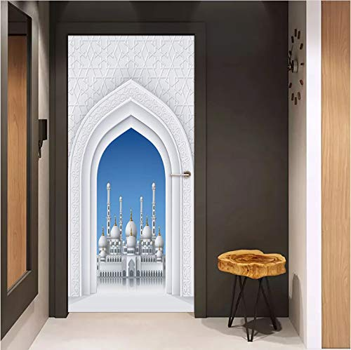 QQFENG Muslim Style Great Mosque Of Mecca Diy Door Art Mural Sticker Home Decor Living Room Door Wall Stickers Self-Adhesive Wallpaper 95cm x 215cm