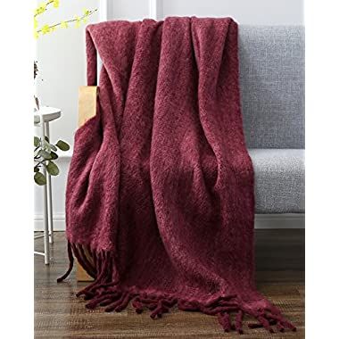 SLPR Faux Mohair Wool Blend Throw (50  x 60 , Burgundy) | Washable Warm Soft Fuzzy Blanket for Winter and Fall Accent Home Decor Bed Chair Sofa