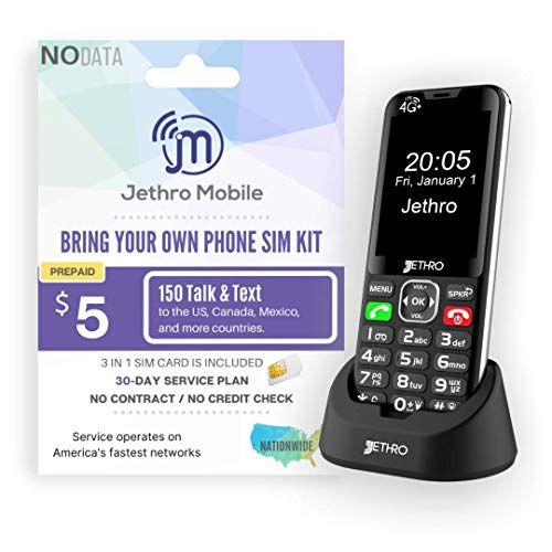 Price comparison product image Jethro [SC490] 4G / LTE Unlocked Bar Style Cell Phone for Seniors and Kids with 30 Days Plan,  Large Screen & Big Buttons,  Hearing Aid Compatible,  Charging Dock,  FCC & IC Certified.