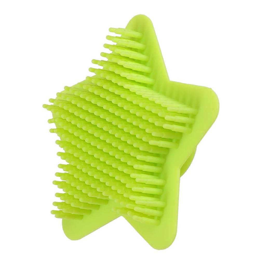 触覚解放する非難Healifty シリコンボディスクラバーヘアシャンプーブラシスカルプソフトマッサージスクラバーブラシシャワーバスブラシ(グリーン)