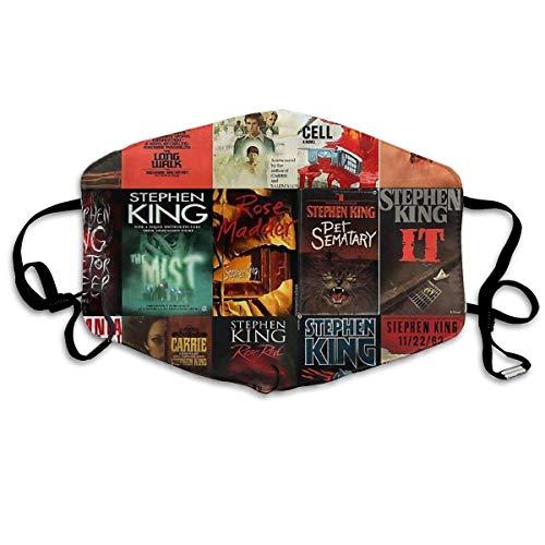 Hirola Mundschutz Face Shield Stephen King Buch Cover Collage Wiederverwendbarer Schutz Schal Anti-Staub Bandana mit 2 Filtern