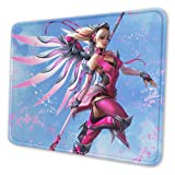 Fpsmoupd Rectangle Mouse Pad Pink Mercy Printing Mousepad with Stitched Edge Non-Slip Rubber Base,Waterproof for Working and Gaming, 8.3 X 10.3 in