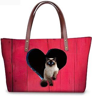 Trendy generous super cute Purple Heart Pet Cat Women Big Top-handle Messenger Bags,Colour Name:cat-1 (Color : Cat-4)