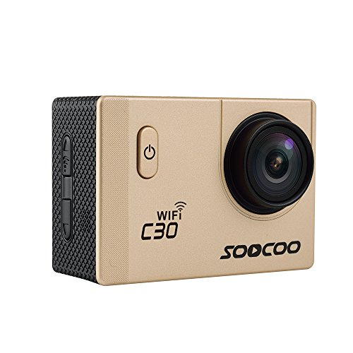 MDTEK@ 16GB TF Card+ Original SOOCOO C30 HD 4K WiFi Action Camera 2.0 inch Screen 170 Degree Wide Angle Voice Prompt Loop Cycle Recording Motion Detection(Gold)