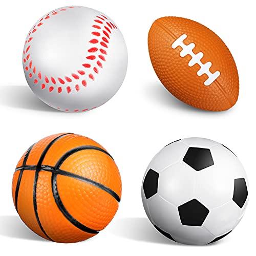 4 Piezas Mini Pelotas Deportivas de Espuma Mini Bolas Antiestrés de Deportes Balones Antiestrés de Béisbol Fútbol Baloncesto Fútbol Americano para Relajación Aliviar Ansiedad Estrés