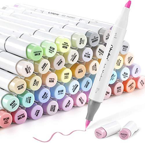Rotulador con 48 colores de Ohuhu, punta de doble cara, punta gruesa para dibujos y cómics, pincel fino para bocetos, caligrafía, dibujo e ilustración