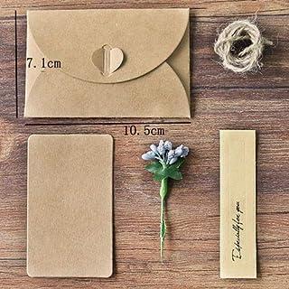 1pc Vintage Kraft Paper Envelope Handmade Gift Card Envelope with Paper Sticker Sunflower Envelopes for Office School (Col...