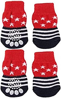 Fenteer 8 Pcs Traction Control Socks, Dog Nonskid Knit Socks Anti-Slip Comfortable Outdoor Indoor wear for Puppy Medium Large Dogs Cats M